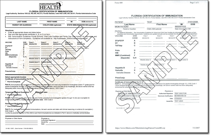 Florida Certificate of Immunization